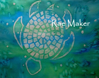 Sea Turtle Silk Scarf. Hand Dyed Green & Turquois Silk Scarf. Hand Painted Aqua Mosaic Turtles. 11x60 inch Marine Green Habotai Silk Scarf.