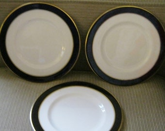Ambassador Ware Imperial Cobalt and Gold on White Porcelain 8 inch Dessert Plates Made in England THREESOME