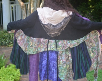 Elf Coat, Gypsy Dress, Upcycled Sweater, Hippie Coat, Fairy Sweater, Festival Dress, Sweater Dress, Patchwork Coat, Pixie Coat, Boho Jacket