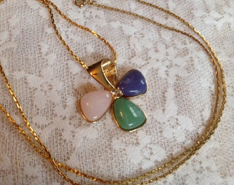 Four Leaf Clover Pendant Necklace Avon Goldtone Chain Faux Pink Green Blue Plastic Gemstones Rhinestone Good Luck Charm St. Patrick's Day