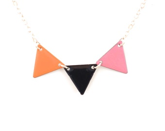"""Necklace """"black rose coral pennant"""""""