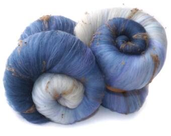 Spinning batts - 21 micron Merino - Silk Noil - 100g - 3.5oz - Blue - Grey - Lavender - SUMMIT
