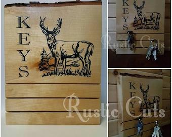Live edge birch block key holder, deer buck design