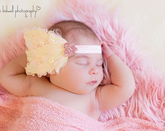 Ivory and Pink Nagorie Feather Headband