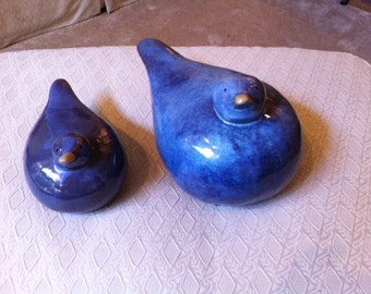 Ceramic Gull Birds In A Royal Blue Color Set Of 2