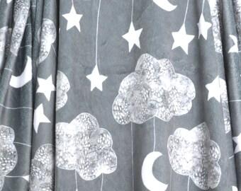 Sailing Dreams Clouds Baby Blanket-Minky Blanket-Baby Boy-Baby Girl-Baby-Star Baby Blanket-Gender Neutral Blanket