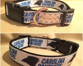 "Handmade Carolina Football Fan 1"" Adjustable Dog Collar"