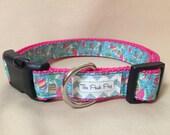 """Handmade Lilly Pulitzer Inspired Sailboats 1"""" Adjustable Dog Collar - MEDIUM"""