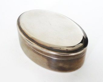 Vintage Oval Metal Lidded Trinket Ring Box