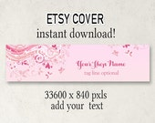 ETSY Cover Photo, DIY Etsy Cover, Instant Download, Add Your Text, Pink Swirly Cover, Shop Cover, 3360 x 840, Download Cover, Cover Design