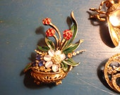 RARE Reja sterling Gardenesque Basket of flowers enamel sterling stones
