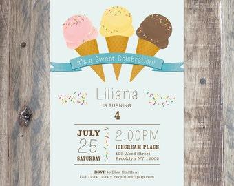 Custom kids Birthday Invitation - Ice Cream Birthday Blue - Printable PDF or Jpeg