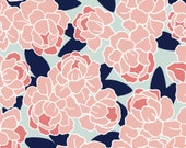Changing pad cover in beautiful navy, coral and aqua floral fabric, girl bedding, nursery