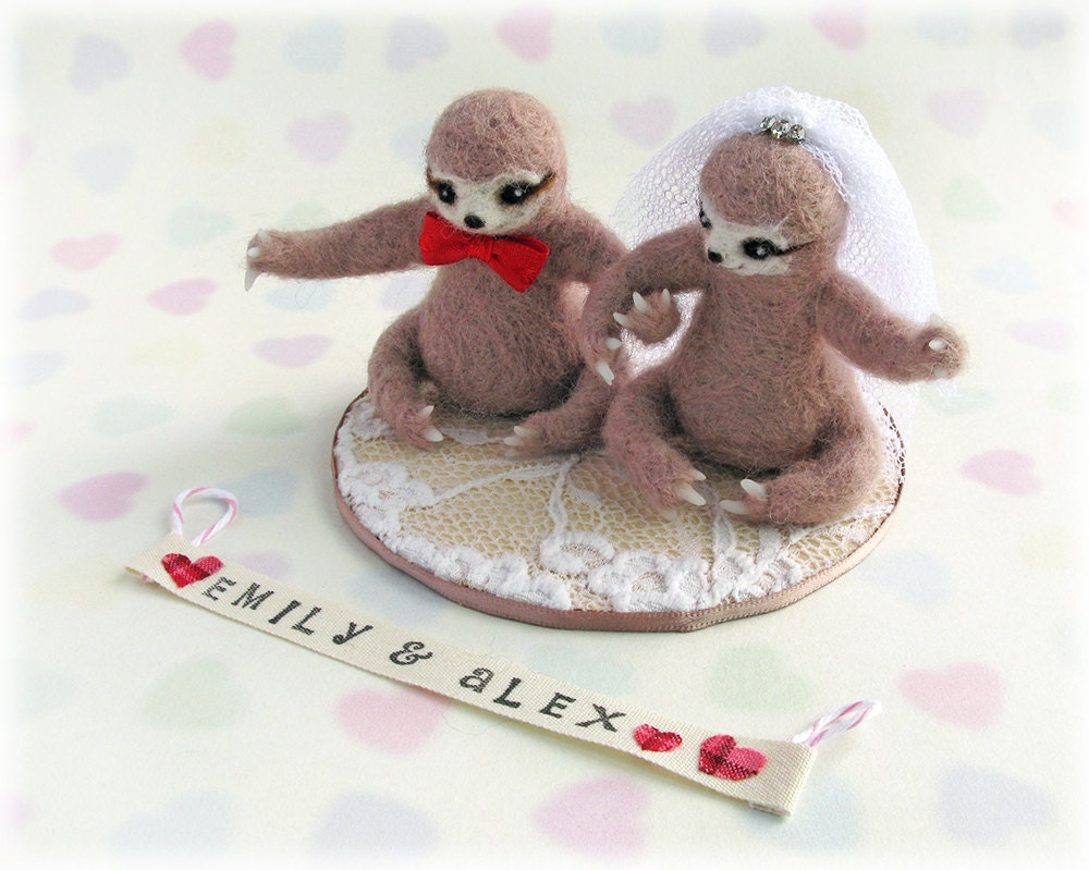 sloth wedding cake topper sloth wedding cake toppers unique needle felted three toed 20197
