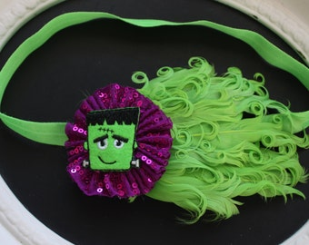 HALLOWEEN Purple Sequin Flower with Felted Frankenstein Center with Neon Lime Green Feathers on Chartreuse Elastic Headband
