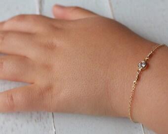 Gold baby bracelet -april birthstone bracelet - baby boy gift- baby Girl gift- newborn bracelet - baptism gift- christening gift-gifts
