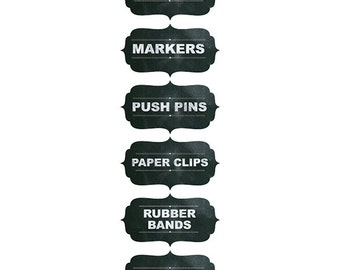 Office & School Supply Stickers 6 pieces, DIY supplies, organization, office, school, chalk board labels