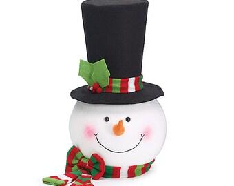 Snowman Tree Topper Head Large  Tall Black Hat Stripe Scarf on Hat & around neck - DIY Floral Arrangements  Mantel - craft