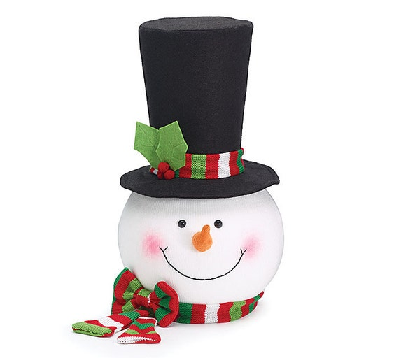 Big W White Christmas Tree: Snowman Tree Topper Head Large Tall Black Hat Stripe Scarf