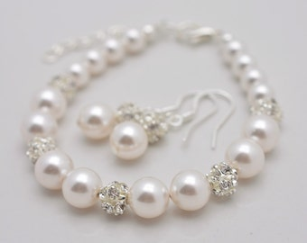 Set of 4 Bracelets and Earrings, 4 Bridesmaid Bracelet and Earring Sets, Pearl Bridesmaid Sets, Pearl Bracelet and Pearl Earrings 0348