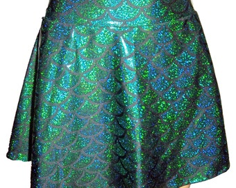 "10"" Mermaid Micro Mini Skater Skirt, Festival Clothes, Mermaid Skirt, Mermaid Scale Skirt, Mini Skirt, Mermaid Rave Skirt"