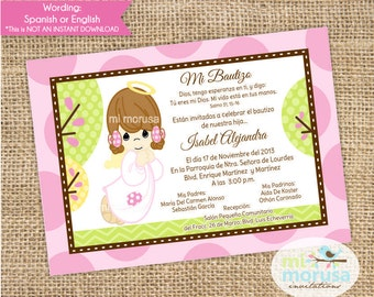 Girl Angel,  Baptism, Christening, Invitation, printable