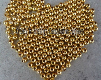 4mm or 5mm Metal Alloy Gold Color Spacer Beads  -  Chunky Necklaces - 2 ounces
