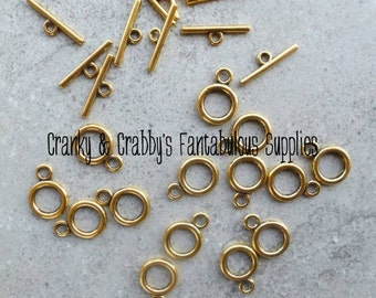 19mm X 14mm Gold Plain Circle Toggle Clasps set of 10