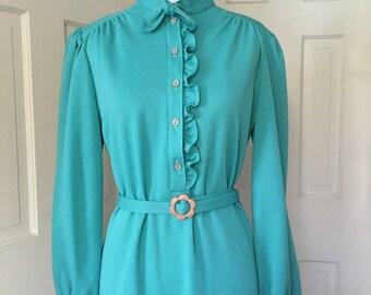 70's belted aqua shirtwaist polyester dress