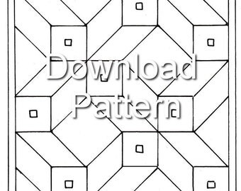 Tracing - Download Roman mosaic pattern - Nine Squares in Perspective (10mm & 5mm)