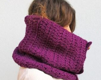 Crochet Cowl Scarf, Crochet Neckwarmer, Chunky Crochet Scarf, Knit Cowl, Purple Scarf  LAST ONE