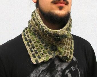 Scarf Neckwarmer Men's Neckwarmer Crochet Neckwarmer Crochet Cowl Scarf Chunky Crochet Scarf, Knit Neckwarmer, Woodland, scarf with buttons