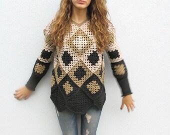 Crochet Granny Square Womens Winter Geometric Retro Sweater Pullover