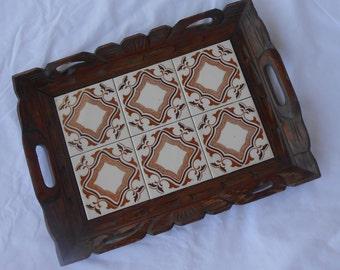 Vintage Tile Carved Wood Tray Serving Platter 1970s Earth Tones