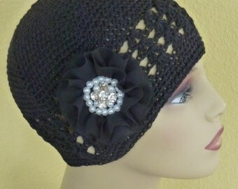 Black Dressy Chemo Hat with Pearl and Rhinestone Flower, Ladies  Crochet Black Chemo Hat with  Large White and Black Flowers