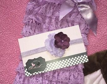 SALE!! Girls Lavender Lace Ruffles Petti Romper with matching Headband Photo Prop