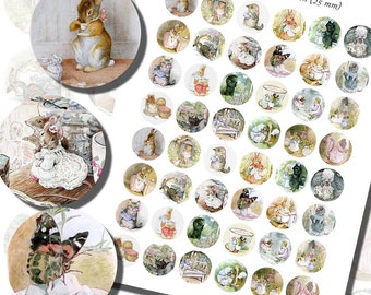 Beatrix Potter's Images for Girls Printables, ONE INCH CIRCLES (25 mm), with 1/2 inch (13mm) and 3/4 inch (20mm) circles also included