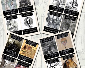 Author Signatures & Book Covers Printables, POSTCARD SIZE,  (3.5 x 5 Inch  or 12.7 x 8.8 cm), 16 Total