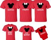 DISNEY Mickey & Minnie Disneyland Disneyworld family trip vacation - matching shirts tshirts with custom names