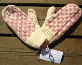 Wool Heart Mittens, Double Knit Ivory and Pink Heart Pattern for Women's Valentine's Day Sweetheart Gift