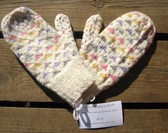 Wool Pastel Mittens, Women's Double Knit Multicolor Triangle Pattern Mittens for Women