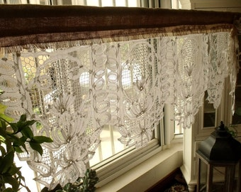 Vintage Lace Kitchen Window Valance With Bow Burlap Curtain SHABBY Rustic  Chic