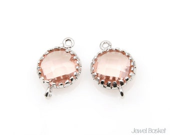 Light Peach color and Silver Framed Glass Connector / 8mm x 12mm / SLPS011-P (2pcs)