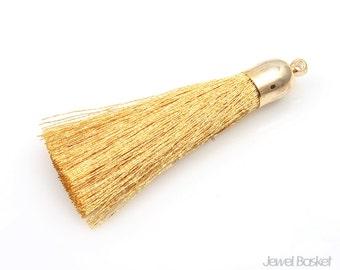 MARKDOWN - Gold Thread Tassel with Gold cap - Medium / 8mm x 48mm / EGDG003-T (2pcs)