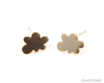 2pcs - Mini Cloud in Matte Gold with 925 Sterling Silver Post / gold earring / cloud / 16k gold plated / silver post / 6.5 x 9mm / BMG218-E