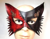 Steampunk Fox Mask. Two-Tone in dark cherry and brown leather with stitching, turning gears in brass and copper, handmade animals cat