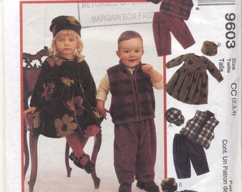 McCalls 9603Toddlers Dress, Vest, Pull-on pants and Hats Sewing pattern