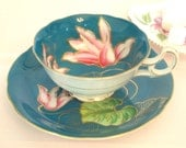 Antique Teacup Teal Blue and Gold Floral Fine China Tea Cup and Saucer Hand Painted Betsons China Japan | Afternoon Tea Party