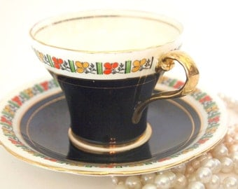 Vintage Aynsley Bone China Tea Cup and Saucer Set   High Gloss Black and Gold Teacup   Circa 1930's England   Tea Party   Gift for Her