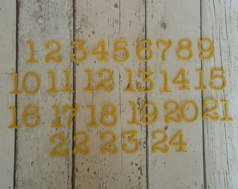Felt Advent Calendar numbers, 1-24,die cut for Christmas sewing or embellishment, DIY Advent Calendar